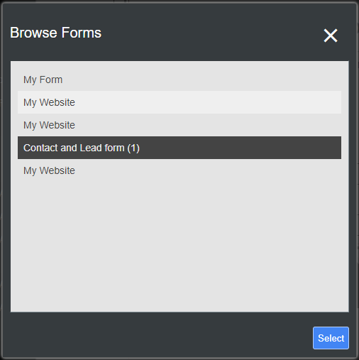 The dialog from where you can select what form is embedded in your form field