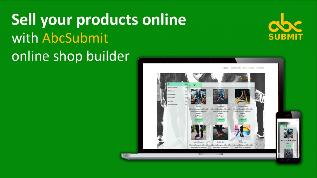 Use AbcSubmit shop field to create product catalog, E-Commerce website or Ecommerce forms